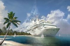 Cruise ship and beach wallpaper