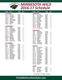 Minnesota Wild Hockey Schedule 2016- 2017 Print Here - http://printableteamschedules.com/NHL/minnesotawildschedule.php