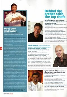 I was interviewed by Hotline magazine about appearing at the BBC Good Food Show. #bbc #goodfoodshow #nec #hotline #magazine #chefkevinashton