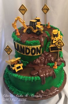Fondant & Chocolate Construction Birthday Ca Construction Theme Cake, Construction Birthday Parties, 3rd Birthday Cakes, Birthday Fun, Digger Birthday Cake, Disney Birthday, Birthday Ideas, Fondant Cakes, Cupcake Cakes