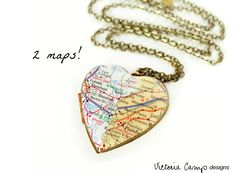 Two Cities Double Map Locket Necklace, Personalized Long Distance Relationship Jewelry, Large Vintage Heart Locket, Custom - Made to Order by VictoriaCampAllison on Etsy