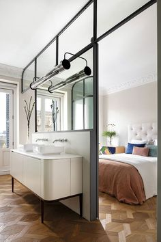 〚 Contemporary design and art breathed new life into this historic Madrid apartment 〛 ◾ Photos ◾ Ideas ◾ Design #bedroom #glass #wall #interiordesign #Homedecor #ideas #inspiration #tips #cozy #living #style #space