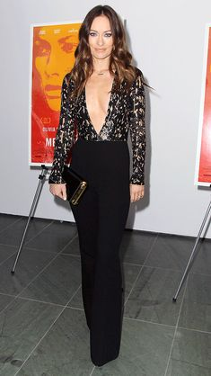 Olivia Wilde in an embroidered Michael Kors Collection jumpsuit