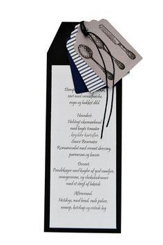 menukort til fest. Se inspiration til bordkort og indbydelser. konfirmation