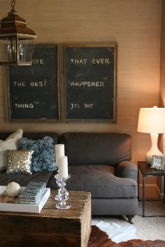 Want this look in my living room. My Living Room, Living Spaces, Grey Couches, Framed Chalkboard, White Decor, Cottage Style, Cozy Cottage, Room Inspiration, Sweet Home