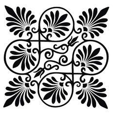 Both ornaments are stencils and feature the palmette motif. Free Stencils, Stencil Templates, Stencil Patterns, Stencil Designs, Craft Stencils, Flower Stencils, Damask Stencil, Arabesque, Pattern Design