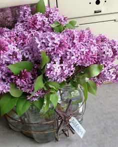 "Rusty old canning JAR ""lifters"" w/ glass jars and lilacs - so romantic and it must smell so nice"