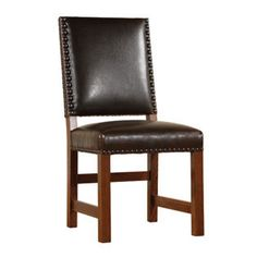Gus Leather Dining Chair.  Want something like this but without the giant nailhead things on the back part.