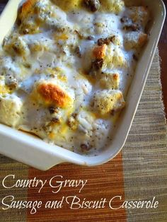 Country Gravy Breakfast Casserole -- good and super easy! Use one less biscuit next time per jame and dad Southern Biscuits And Gravy, Breakfast Skillet, Breakfast Casserole, Slow Cooker Chili, Saturday Morning, Grilling Recipes, Four, Cheeseburger Chowder, Allrecipes