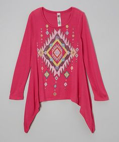 Take a look at this Magenta Tribal Beaded Sidetail Tee - Girls by Beautees on #zulily today!