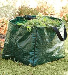 Looks like a great idea but has anyone every tried to carry, drag, or pull a tarp, or paper bag full of yard waste?   That stuff is Heavy!!!      I'll stick to the wheelbarrow or yard cart.  ;)    I'll stick to the wheelbarrow.  ;)    ( Lightweight Carry-All Garden Cleanup Bag )
