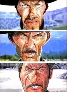 Caricature Collection: Clint Eastwood by Charles Da costa The Good, The Bad & The Ugly Cartoon Faces, Funny Faces, Cartoon Art, Lee Van Cleef, Films Western, Western Art, Funny Caricatures, Celebrity Caricatures, Caricature Drawing