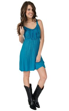 Rock & Roll Cowgirl Women's Turquoise with Fringe & Silver Studs Sleeveless Dress