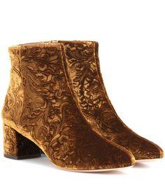 Aquazzura - Embossed velvet ankle boots - Velvet is all the rage this season and…