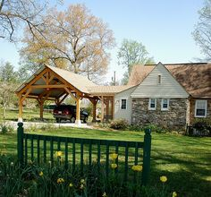 Outdoor Living - Timber Frame Pavilion - Timber Frame Porte-Cochere - Timber…
