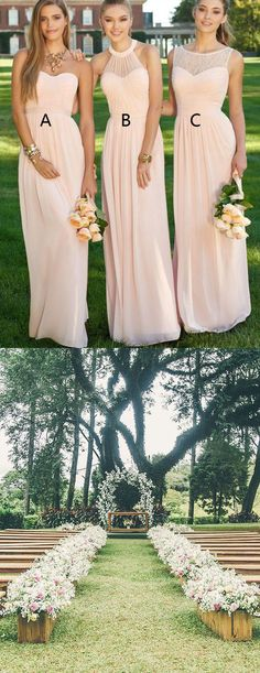 Elegant Bridesmaid Dress, Floor-Length Pink Bridesmaid Dress, Plus Size Bridesmaid Dresses, outside wedding,