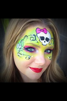 Skull face paint bright colour
