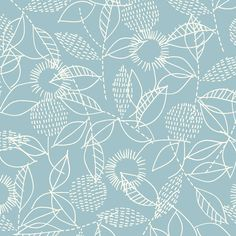 153202 Backstitch | Blue Double Gauze from Threads by Eloise Renouf for Cloud9 Fabrics
