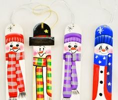 painted craft sleds | tongue depressor snowmen.