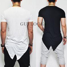 Avant Garde Edge Mod Mens Unbalance Cut Design Silket Tail Crew Tee by Guylook | eBay