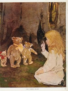 "Jessie Willcox Smith, from ""The Now-A-Days Fairy Book"" - lovely illustration. Jessie Willcox Smith, Vintage Illustration, Goldilocks And The Three Bears, Vintage Children's Books, Vintage Magazines, Eeyore, Childrens Books, Illustrators, Fairy Tales"