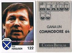"""Love him or loathe him, surely the greatest of the modern era? Alex Ferguson manager rookie card, issued in Spain, 1986, by Barna (who remembers the Commodore 64? I played the legendary early pc game """"Alien Breed"""" on it!) here as Scotland manager before his glory years at Manchester United. www.rarecards.co.uk"""