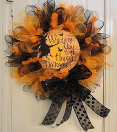 Witching you a Happy Halloween Ruffled Deco Mesh Cute Halloween, Holidays Halloween, Vintage Halloween, Halloween Witches, Vintage Witch, Halloween Birthday, Halloween Stuff, Halloween Makeup, Halloween Costumes