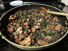 black rice, mushrooms and spinach... Follow the instructions on your rice package, not the blog.