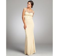 A.B.S. by Allen Schwartz french vanilla crystal embellished sweetheart stretch jersey knit gown $369