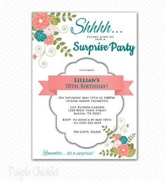 Surprise 70th Birthday Party Invitation Coral and Teal Elegant Floral Adult Party Invite Printable Personalized JPG File Invite 69c