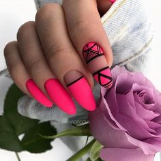 32 Star Nails designs to fall in love with Baby Pink Nails Acrylic, Neon Pink Nails, Fancy Nails, Cute Nails, Nail Swag, Stylish Nails, Trendy Nails, Star Nail Designs, Romantic Nails