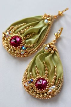 Beaded Shibori Earrings with Swarovski - Fuchsia Cream Green by ZuziHake on Etsy https://www.etsy.com/listing/221460180/beaded-shibori-earrings-with-swarovski