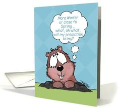 Groundhog Day-Groundhog Thinks about Prediction card by Christie Black-Creations from the Heart