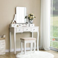 Impressive Makeup Vanity Inspiration to Copy - Searching for amazing makeup vanity ideas? You can check out our latest picks to steal. White Vanity Table, White Makeup Vanity, Vanity Table Set, Vanity Set With Mirror, Makeup Vanities, Simple Dressing Table, Makeup Dressing Table, Dressing Room Decor, Dressing Room Design