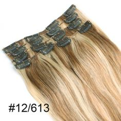 "Yesurprise 18"" #12/613 Remy 100% Real 7pcs 70g Straight Human Hair Clips In Hair Extensions by Yesurprise. $38.69. 100% Human hair. 18 inch Light Brown and Bleach Blonde. Weight: 7pcs 70g approx.. Weft / Extension Soft and Thick With clip. Better Proportion and Most of Hair are Similar Length. Package Includes: 7pcs 70g: 1 x 4 clips attached 2 x 3 clips attached 2 x 2 clips attached 2 x 1 clips attached How to Care For Human Hair Extensions Step 1 Be gentle. One of the..."