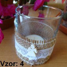 Sklenený svietnik Jarko - Sviečka - S čajovou sviečkou (plus 0,10€), Vzor - Vzor 4