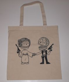 Star Couple Canvas Shopping Tote Bag by MisNopalesArt on Etsy, $10.00