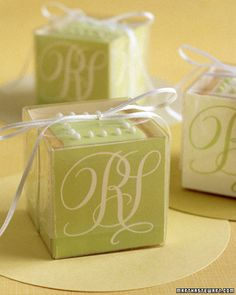 Elegant Cookie Cubes    For a sophisticated favor, stack cookies in a plastic box lined with your monogram on all sides. To line box, scan calligraphed initials and print onto card stock; back with glassine using double-sided tape. Score and fold to fit in box.