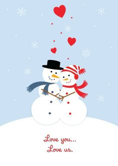 Snowman Love | Personalized Christmas greeting cards from Treat.com