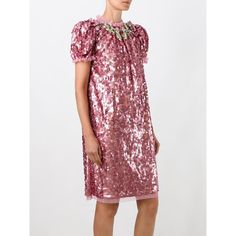 Dolce & Gabbana sequinned embellished dress (1,760 BHD) ❤ liked on Polyvore featuring dresses, dolce gabbana dress, short sleeve sequin dress, shift dress, short sleeve dress and sequin dresses