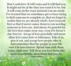 Lessons Learned in Life | Don't rush love.