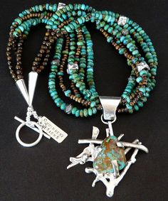 Kingman Turquoise & Sterling Silver Prong-Set Pendant with 6 Strands of Turquoise, Bronzite & Sterling
