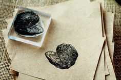 River Clam Rubber Stamp  Clam Stamp  Oyster Stamp by RedClayStamps