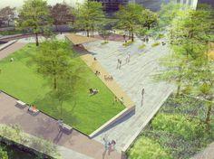 Aménagement paysager - place publique - Caluire-et-Cuire - espace public - perspective - jardin - parc aménagement extérieur paysagiste