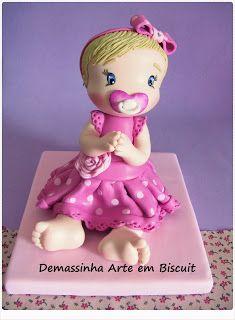 Boneca em biscuit, porcelana fria.