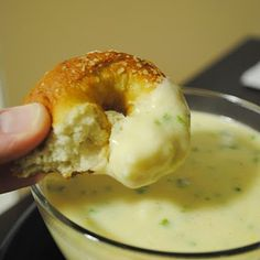 Recipe for Superbowl Sunday Soft Pretzels: with warm jalapeno cheese dipping sauce
