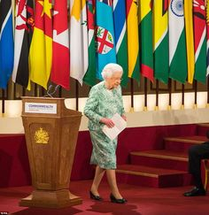 Her Majesty receives applause from all corners of the ballroom after she gave a speech in which she hinted at her support for Prince Charles in becoming the new head of the Commonwealth