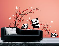 For mvlasiuk-Kid Vinyl Wall Sticker Decal Art - Lovely Pandas Having Fun in Cherry Blossom - dd1059