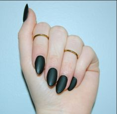 Matte black almond shaped nails