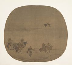 Attributed to Chen Juzhong (Chinese, active ca. 1200–30), Nomads hunting with falcons 南宋 傳陳居中 胡騎春獵圖 團扇, early 13th century, Song dynasty (960–1279). Fan mounted as an album leaf; ink and color on silk, 9 1/2 x 10 3/4 in. (24.1 x 27.3 cm). From the Collection of A. W. Bahr, Purchase, Fletcher Fund, 1947. The Metropolitan Museum of Art, 47.18.32 © 2000–2016 The Metropolitan Museum of Art.